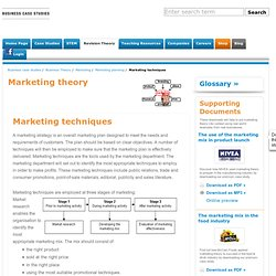 Marketing techniques Marketing planning business studies and business english