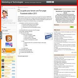 Le guide pour lancer une Fan page Facebook édition 2011