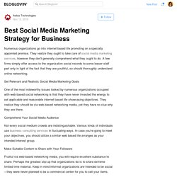 Best Social Media Marketing Strategy for Business