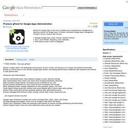 Apps Marketplace - Promevo gPanel for Google Apps Administration