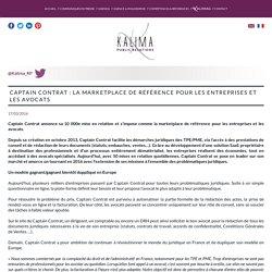 Captain Contrat : la marketplace de référence pour les entreprises et les (...) - Kalima : Agence de relations publiques à Paris