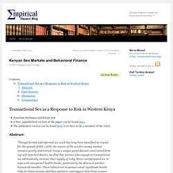 Kenyan Sex Markets and Behavioral Finance