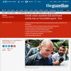 Greek crisis: markets fall and bond yields rise as Varoufakis goes – live