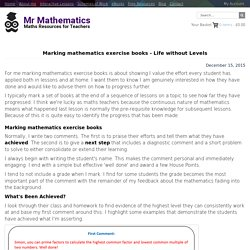 Marking mathematics exercise books - Life without Levels