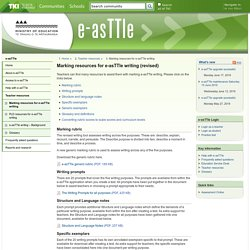 Marking resources for e-asTTle writing / Teacher resources / Home - e-asTTle