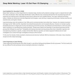 Deep Metal Marking: Laser vs Dot Peen vs Stamping - HeatSign