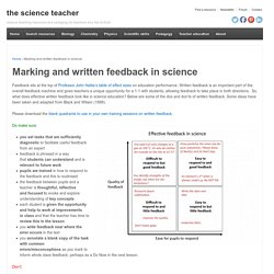 Marking and written feedback in science