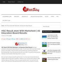 HSC Result 2020 With Marksheet