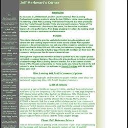 Jeff Markwart's Corner - Phase Corrected Crossovers