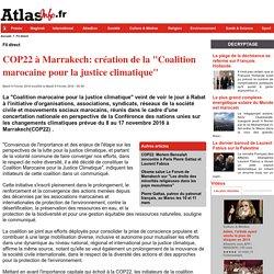 """COP22 à Marrakech: création de la """"Coalition marocaine pour la justice climatique"""""""