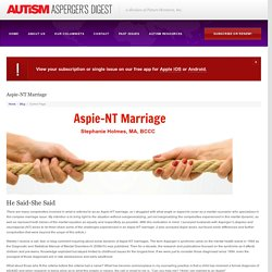 Aspie-NT Marriage - Autism Asperger's Digest Autism Asperger's Digest