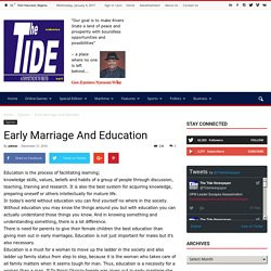 Early Marriage And Education