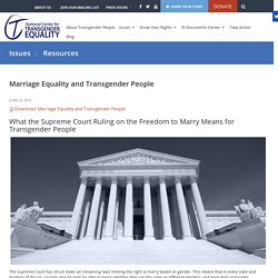 Marriage Equality and Transgender People