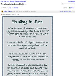 Funny Stuff - Fondling in Bed One Night.....