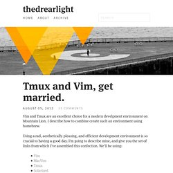 Tmux and Vim, get married.
