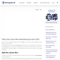 Mars One - Mars Besiedelung bis 2023