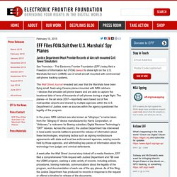 EFF Files FOIA Suit Over U.S. Marshals' Spy Planes