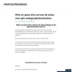 Documentation d'installation du serveur et de ses briques logicielles
