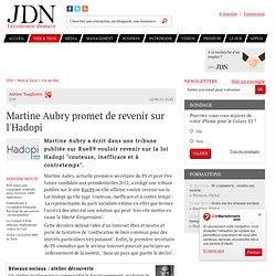 Martine Aubry promet de revenir sur l'Hadopi