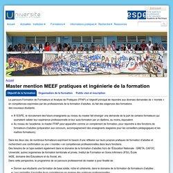 Master mention MEEF pratiques et ingénierie de la formation