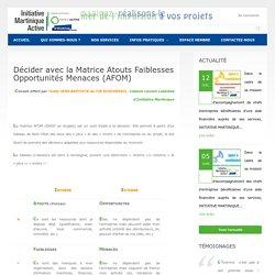 Décider avec la Matrice Atouts Faiblesses Opportunités Menaces (AFOM) - Initiative MartiniqueInitiative Martinique