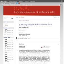 D. Martucelli. Forgé par l'épreuve. L'individu dans la France contemporaine