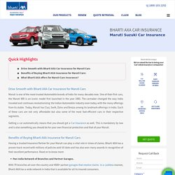Maruti Suzuki Car Insurance: Buy/Renew Maruti Suzuki Car Insurance Online