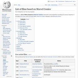 List of films based on Marvel Comics