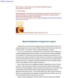 Maryline Desbiolles et l'énigme de la rupture
