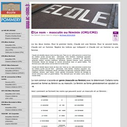 Le nom – masculin ou féminin (CM1/CM2) « Ecole primaire publique Pommery REIMS