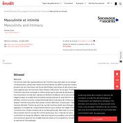 Masculinité et intimité – Sociologie et sociétés