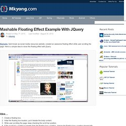Mashable floating effect example with jQuery