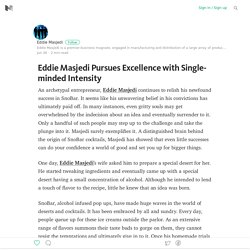 Eddie Masjedi Pursues Excellence with Single-minded Intensity