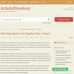 Why N95 Mask is So Popular Now A Days?