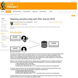 Masking sensitive data with SQL Server 2016