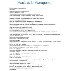 Maslow: le Management