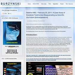 Dateline NBC - February 20, 2011: A Case Study of Anecdotal Testimonies Masquerading as Scientific Journalism [Antineoplastons]