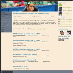 Training and League - Massachusetts Table Tennis and Badminton Club