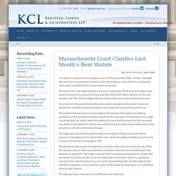 Massachusetts Court Clarifies Last Month's Rent Statute - Kerstein, Coren & Lichtenstein, LLP
