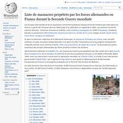 Liste de massacres perpétrés par les forces allemandes en France durant la Seconde Guerre mondiale