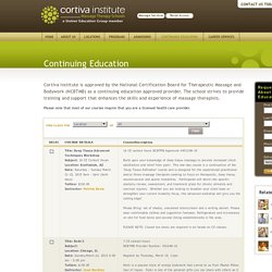 Massage Therapy Continuing Education - Massage Therapy CEU Courses