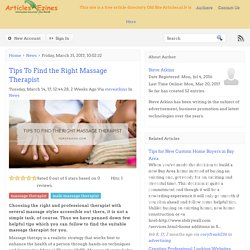 Tips To Find the Right Massage Therapist
