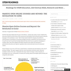 Massive Open Online Courses and Beyond: the Revolution to Come