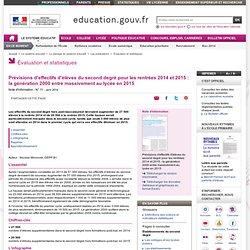 Prévisions d'effectifs d'élèves du second degré pour les rentrées 2014 et 2015 : la génération 2000 entre massivement au lycée en 2015 - Ministère de l'éducation nationale, de l'enseignement supérieur et de la recherche