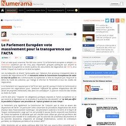 Le Parlement Européen vote massivement pour la transparence sur