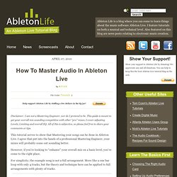 How To Master Audio In Ableton Live