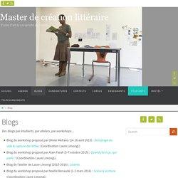 Blogs - Master de création littéraire