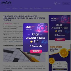 Tips That Will Help You Master Crossword Puzzles to Win at Wealth Words