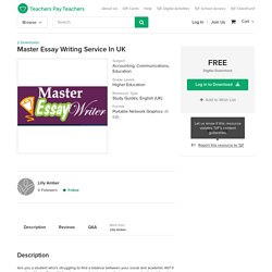 Master Essay Writing Service In UK by Lilly Amber