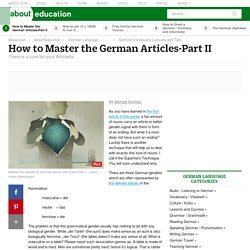 How to Master the German Articles-Part II